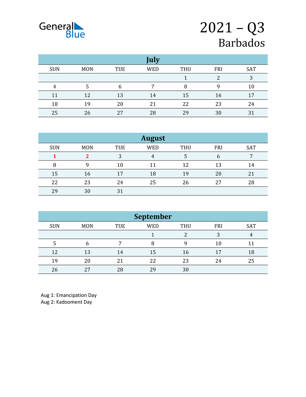 Three-Month Planner for Q3 2021 with Holidays