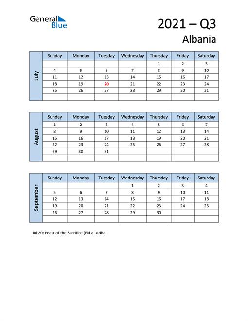 Free Q3 2021 Calendar for Albania