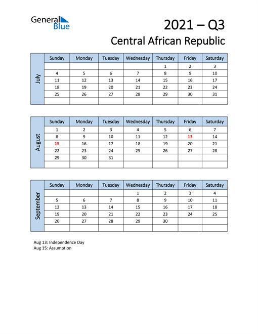 Free Q3 2021 Calendar for Central African Republic