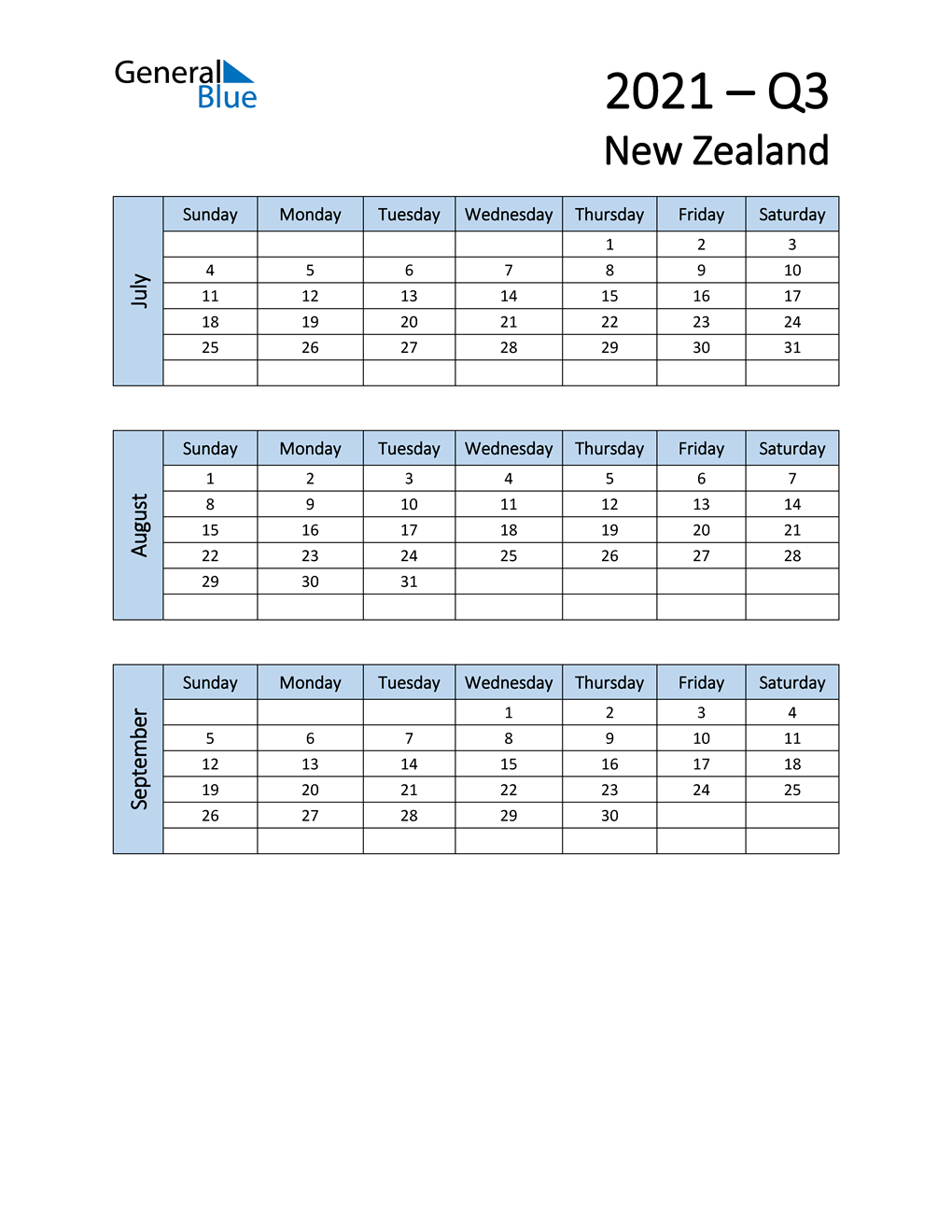 Free Q3 2021 Calendar for New Zealand