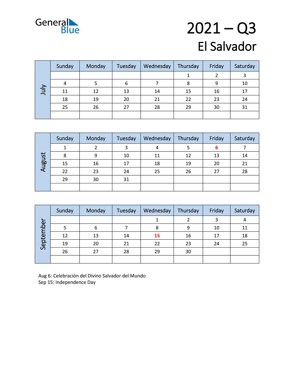 Free Q3 2021 Calendar for El Salvador