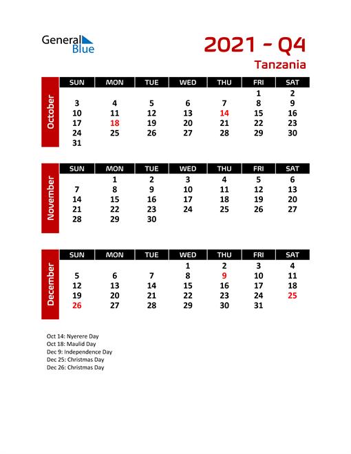 Q4 2021 Calendar with Holidays
