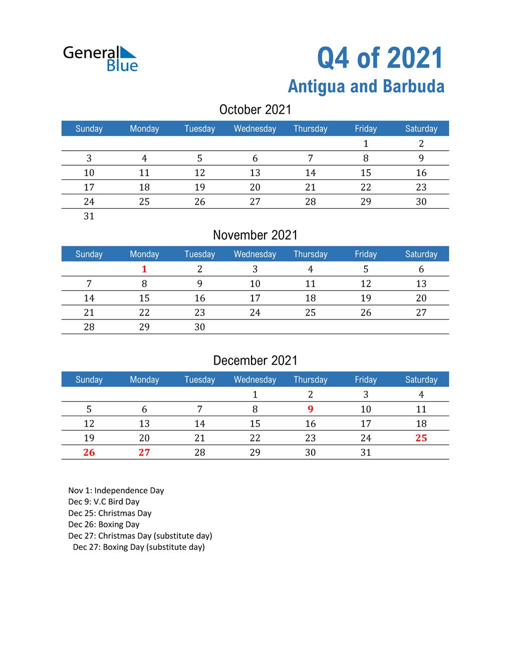 Antigua and Barbuda 2021 Quarterly Calendar