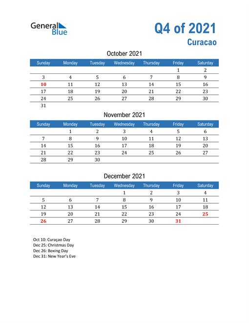 Curacao 2021 Quarterly Calendar