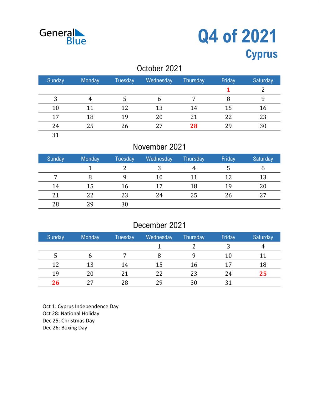 Cyprus 2021 Quarterly Calendar