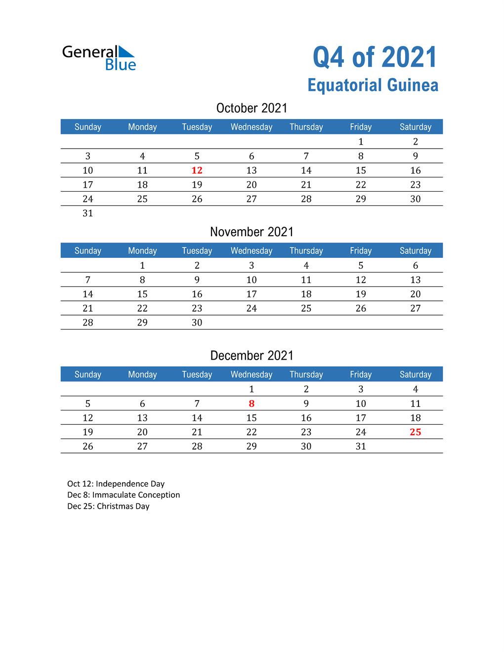 Equatorial Guinea 2021 Quarterly Calendar