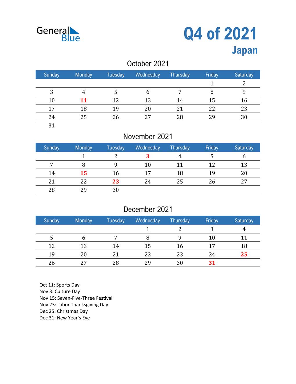 Japan 2021 Quarterly Calendar