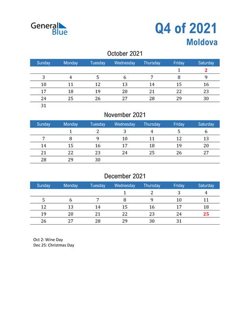 Moldova 2021 Quarterly Calendar