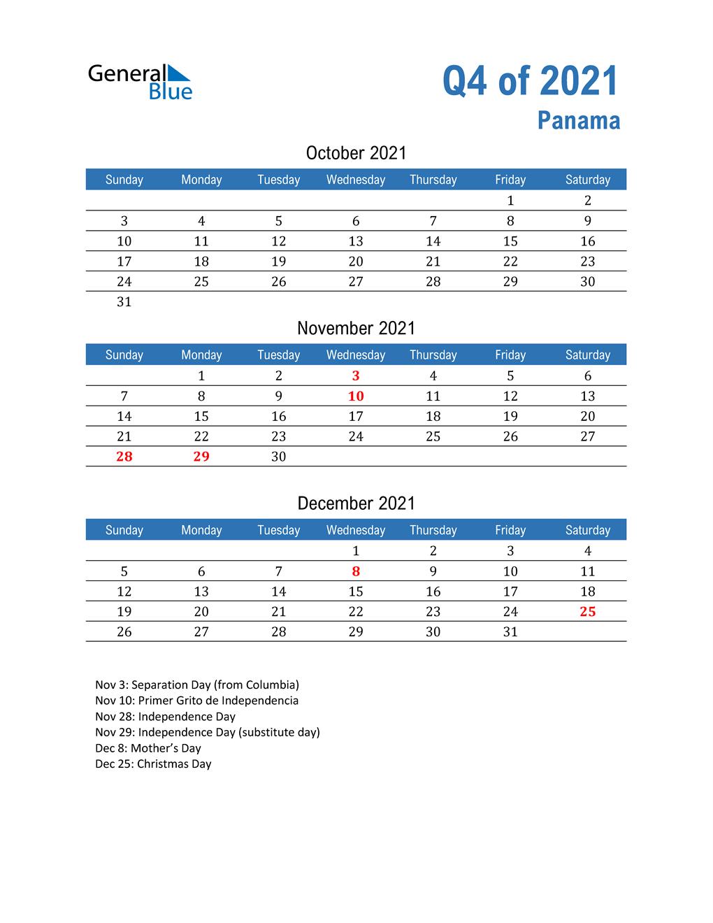 Panama 2021 Quarterly Calendar