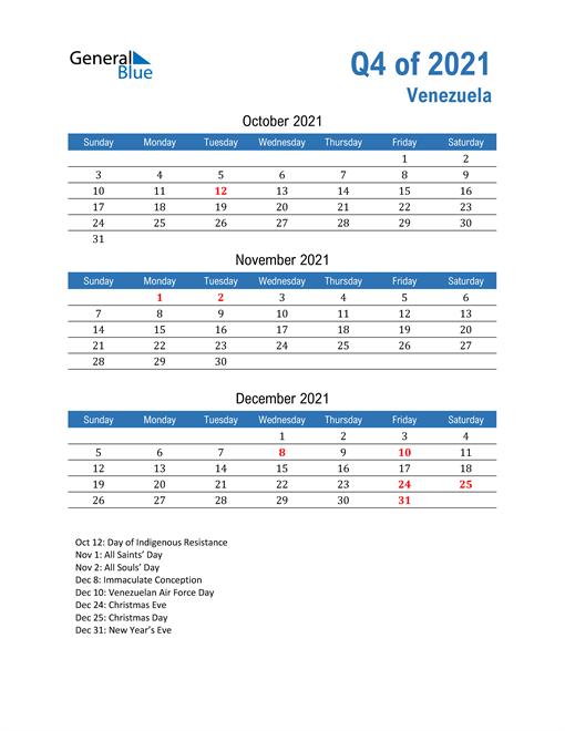 Venezuela 2021 Quarterly Calendar