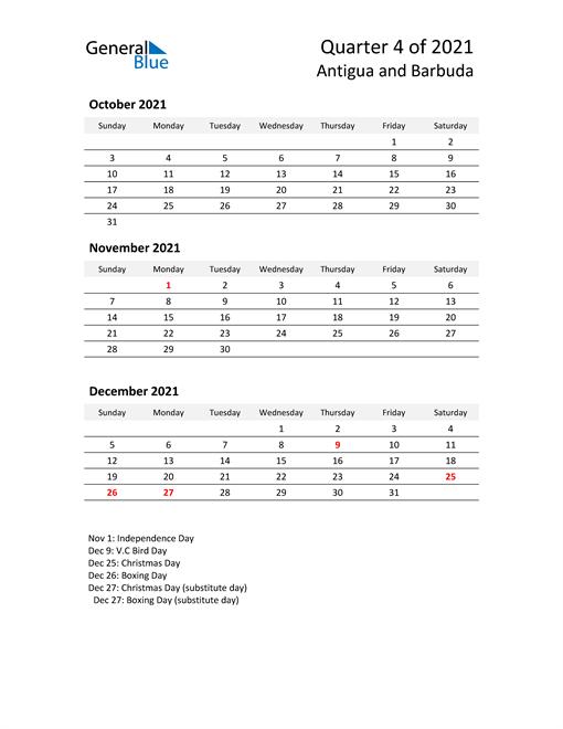 2021 Three-Month Calendar for Antigua and Barbuda