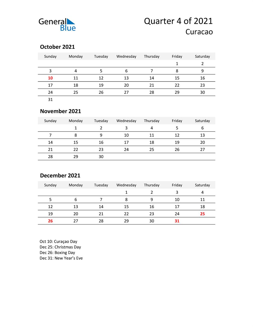 2021 Three-Month Calendar for Curacao