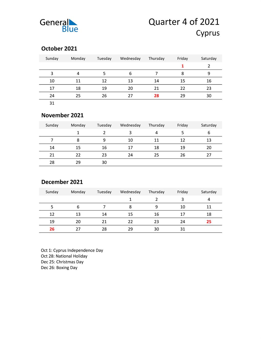 2021 Three-Month Calendar for Cyprus