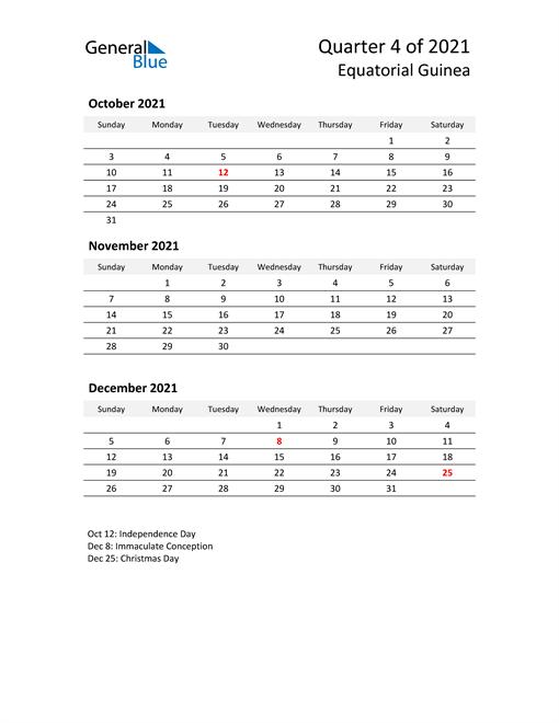 2021 Three-Month Calendar for Equatorial Guinea