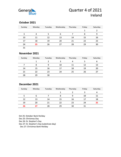 2021 Three-Month Calendar for Ireland