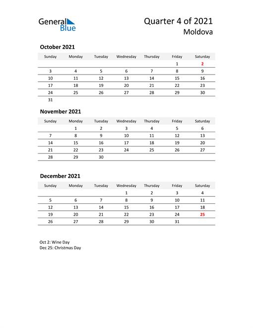 2021 Three-Month Calendar for Moldova