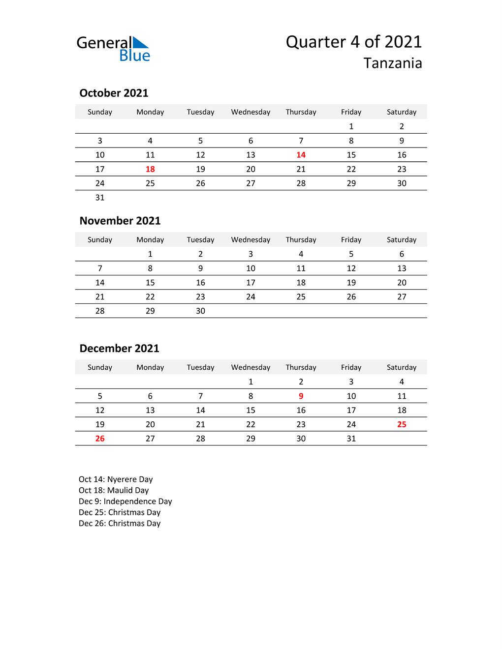 2021 Three-Month Calendar for Tanzania