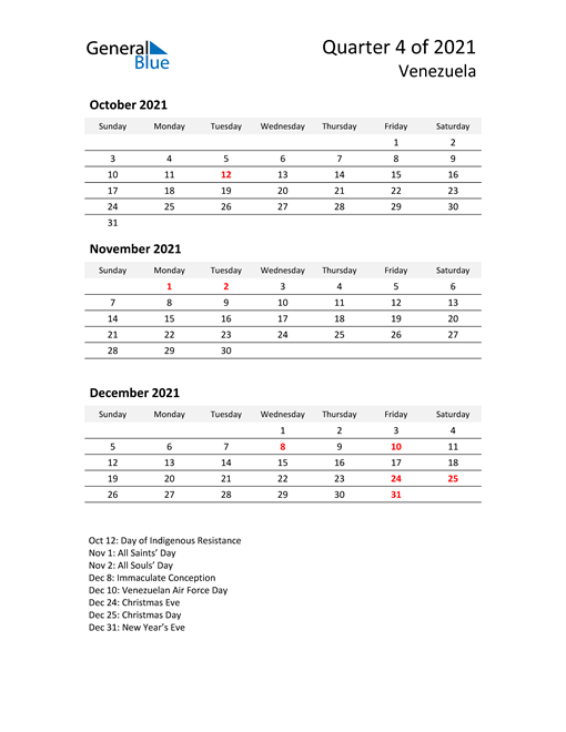 2021 Three-Month Calendar for Venezuela