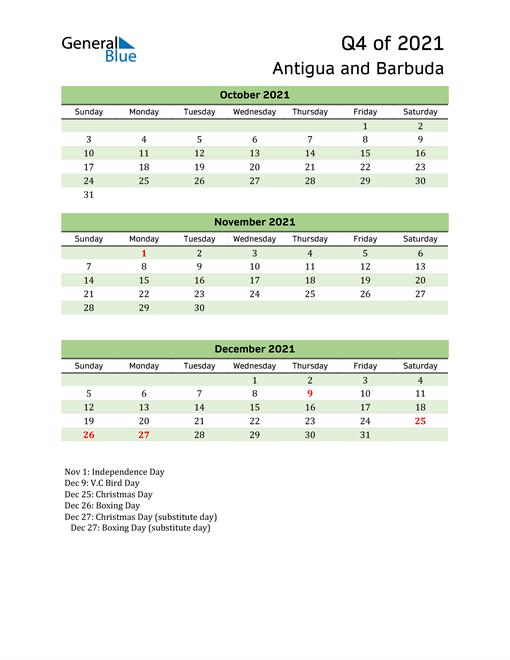 Quarterly Calendar 2021 with Antigua and Barbuda Holidays