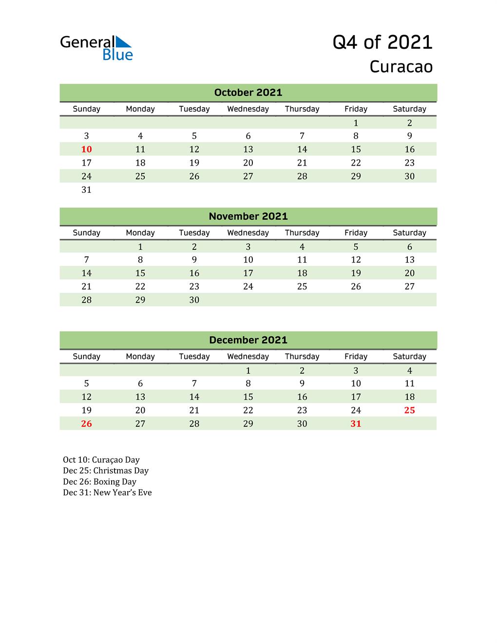 Quarterly Calendar 2021 with Curacao Holidays