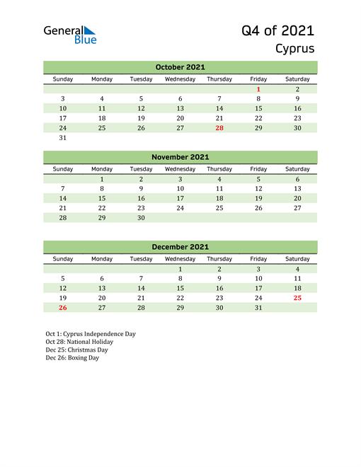 Quarterly Calendar 2021 with Cyprus Holidays