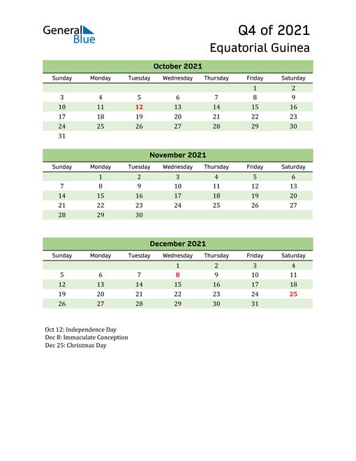 Quarterly Calendar 2021 with Equatorial Guinea Holidays