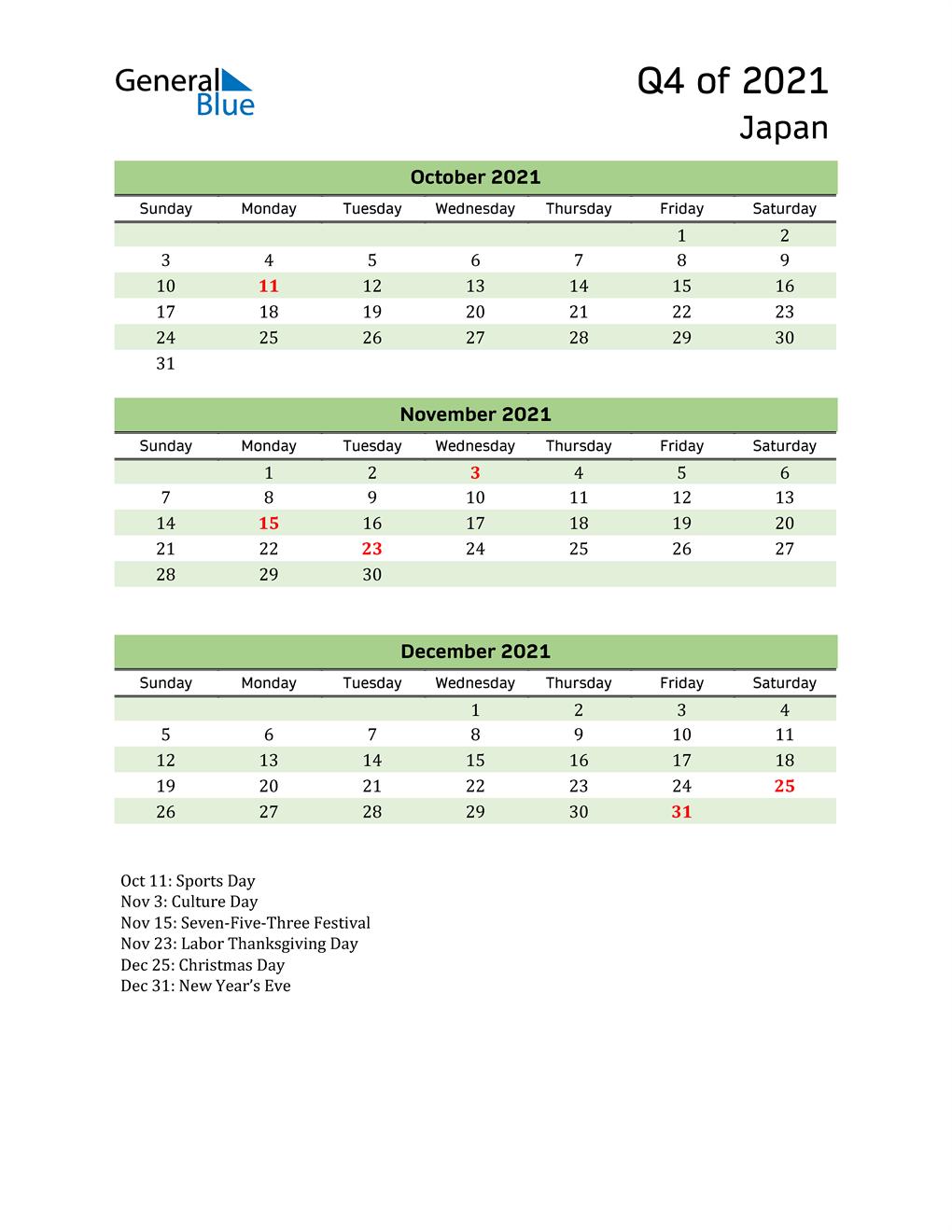 Quarterly Calendar 2021 with Japan Holidays