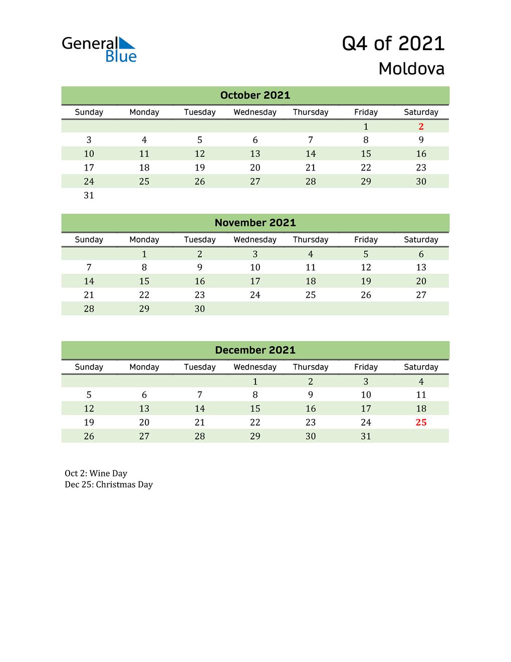Quarterly Calendar 2021 with Moldova Holidays