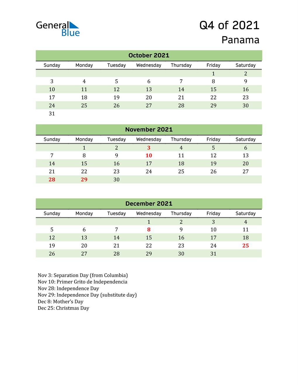 Quarterly Calendar 2021 with Panama Holidays