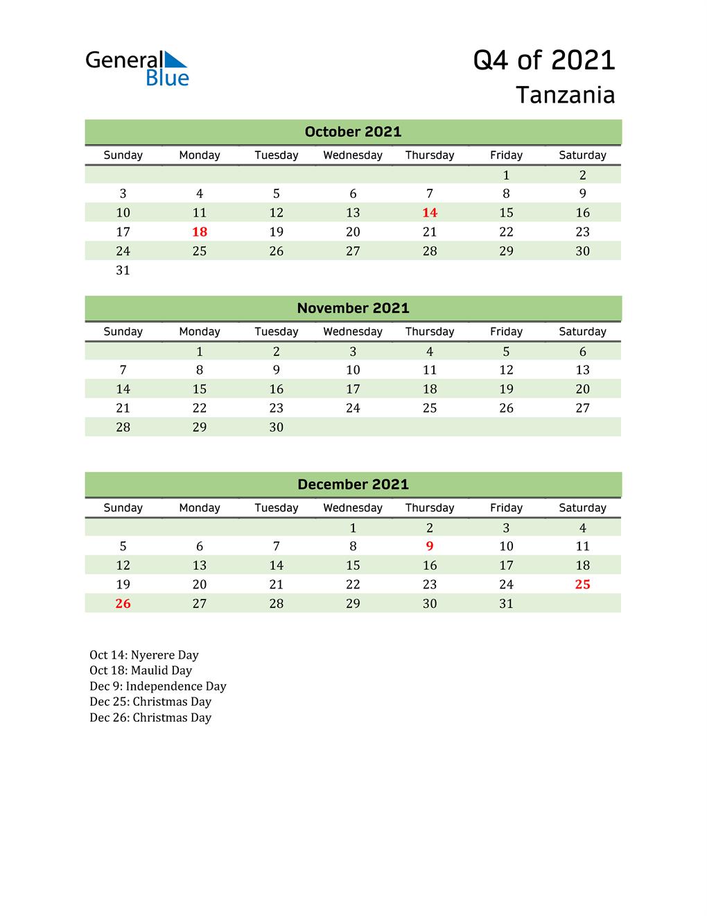 Quarterly Calendar 2021 with Tanzania Holidays