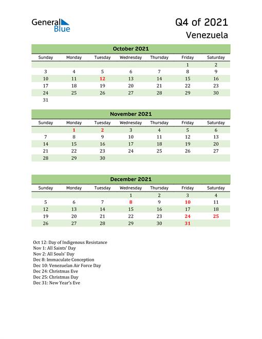 Quarterly Calendar 2021 with Venezuela Holidays