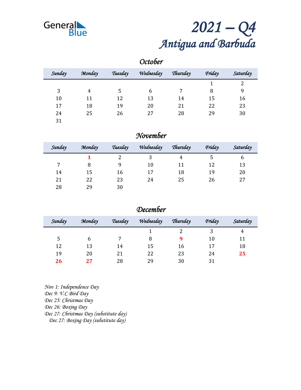 October, November, and December Calendar for Antigua and Barbuda