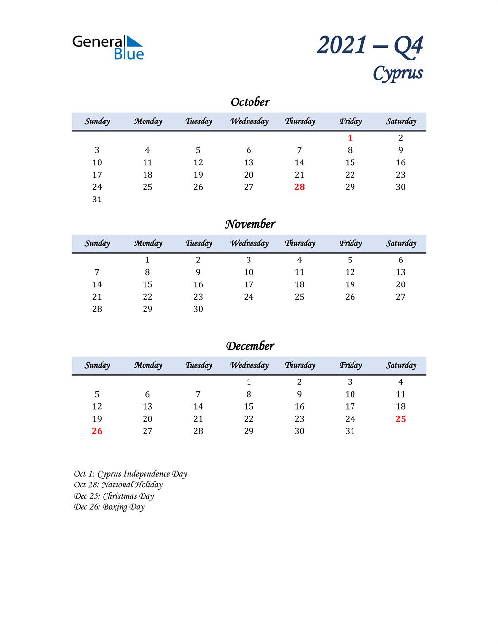 October, November, and December Calendar for Cyprus