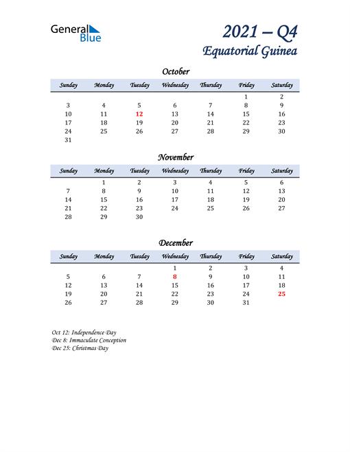 October, November, and December Calendar for Equatorial Guinea