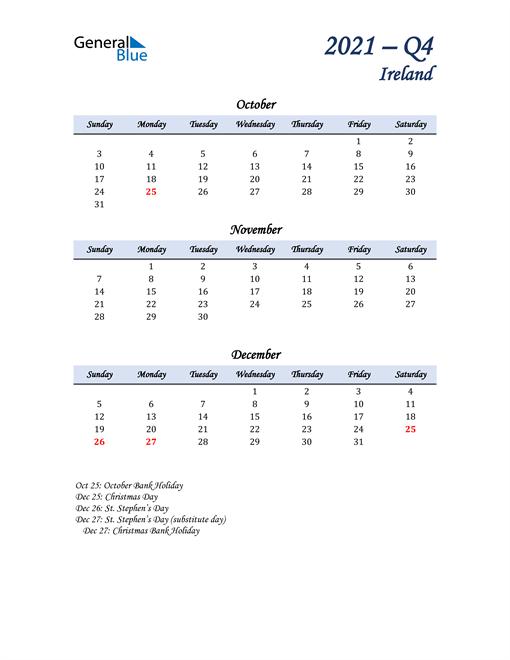 October, November, and December Calendar for Ireland