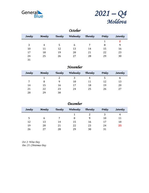October, November, and December Calendar for Moldova