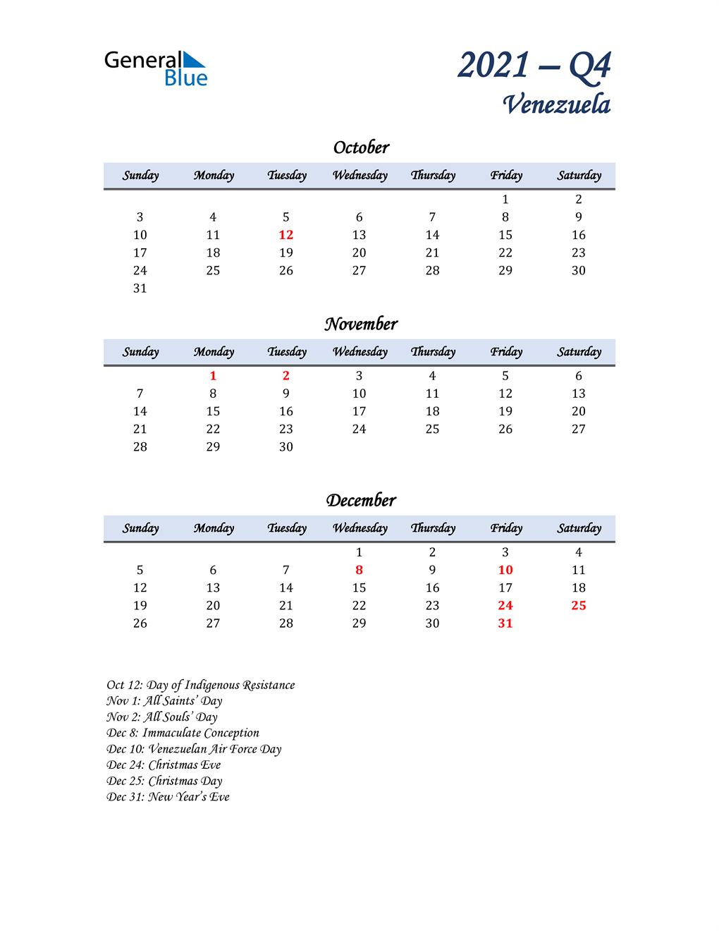 October, November, and December Calendar for Venezuela