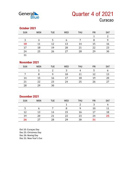Printable Three Month Calendar for Curacao