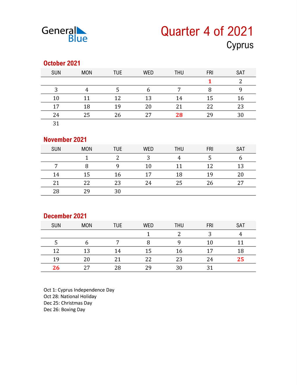 Printable Three Month Calendar for Cyprus