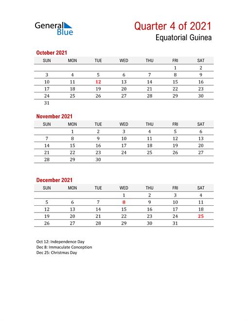 Printable Three Month Calendar for Equatorial Guinea