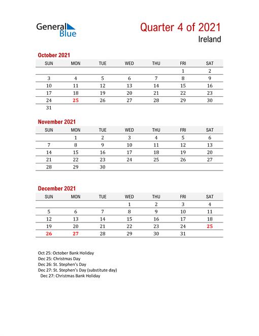 Printable Three Month Calendar for Ireland