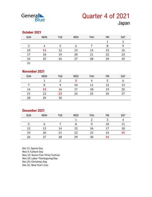 Printable Three Month Calendar for Japan