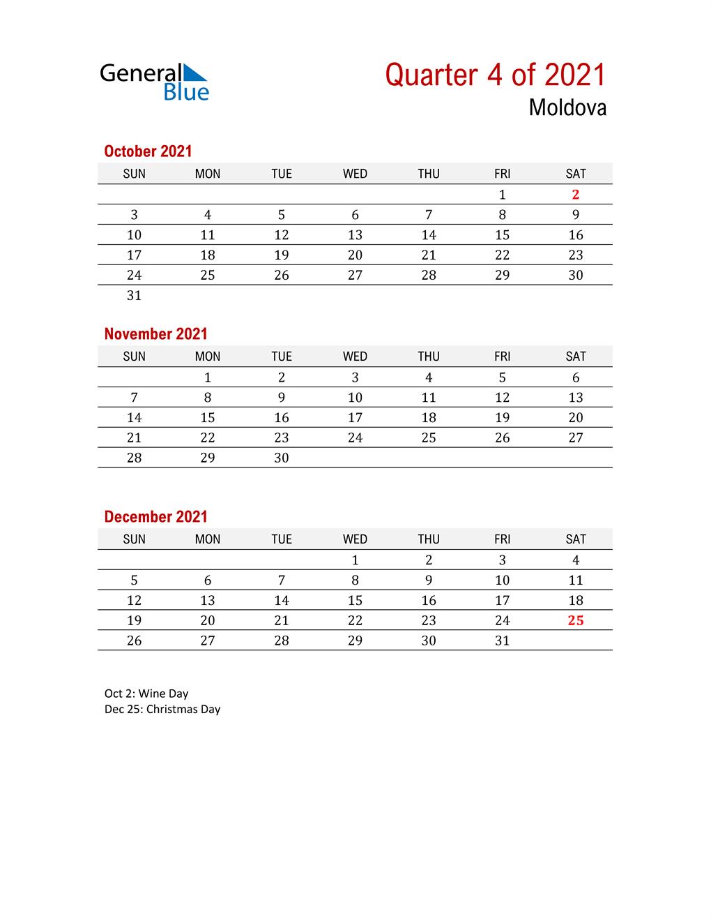 Printable Three Month Calendar for Moldova