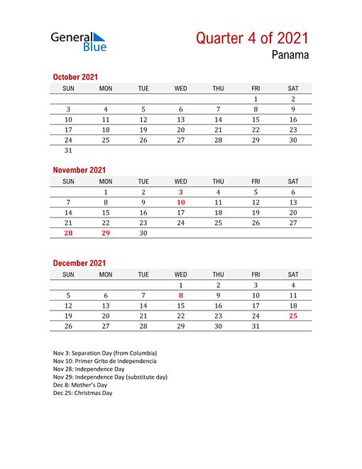 Printable Three Month Calendar for Panama