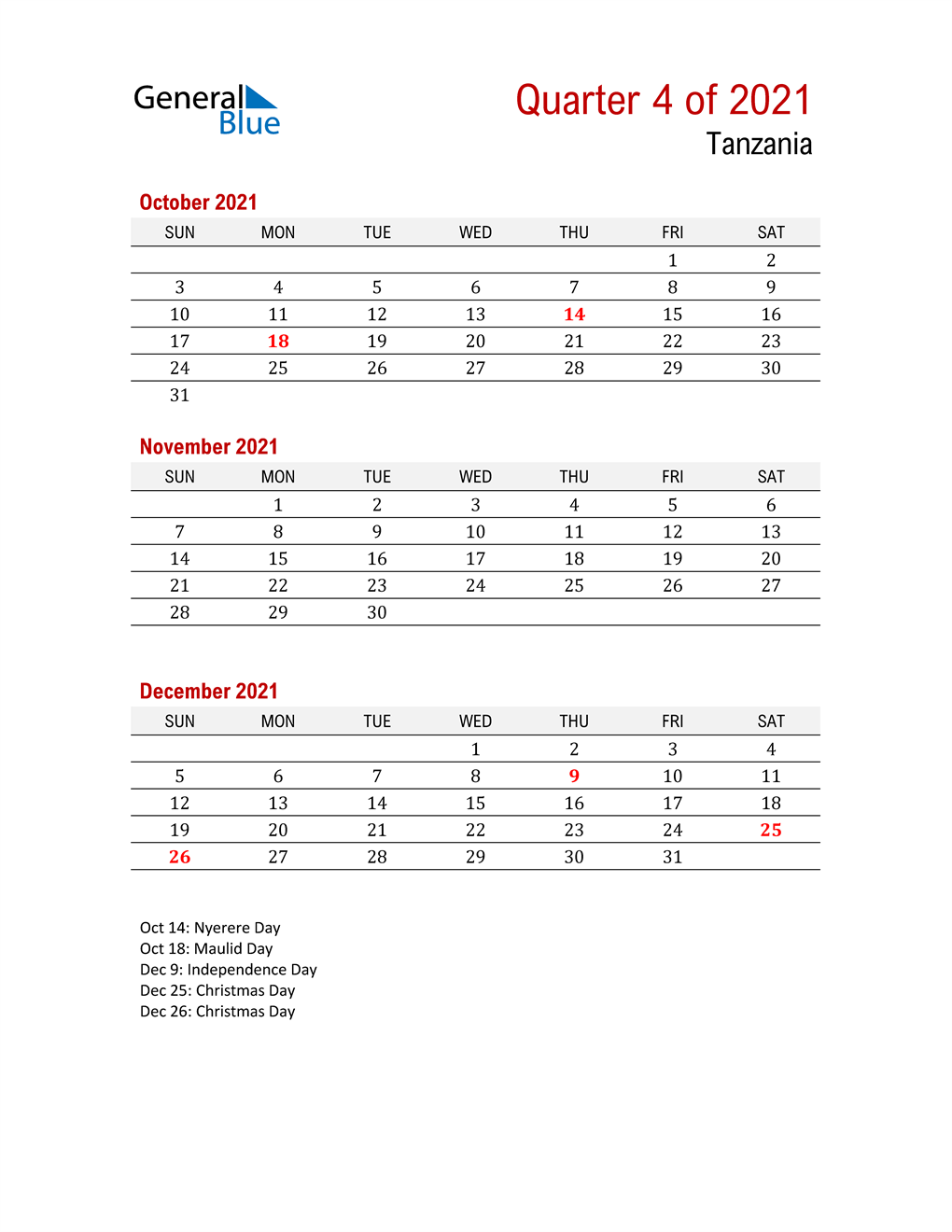 Printable Three Month Calendar for Tanzania