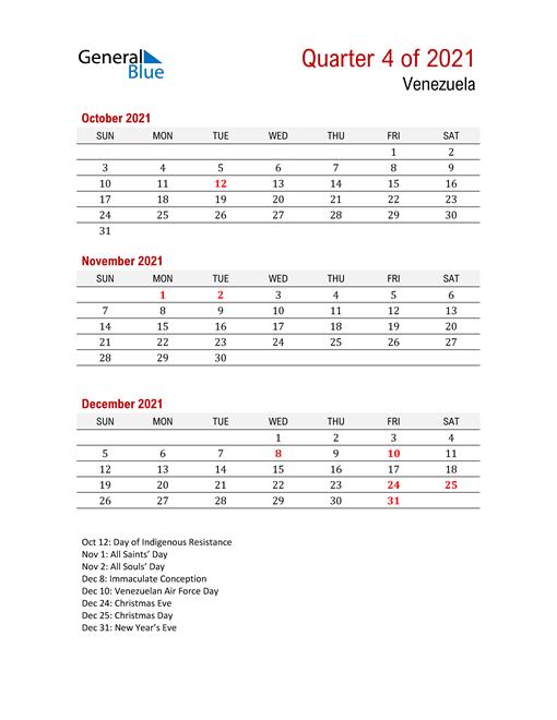 Printable Three Month Calendar for Venezuela