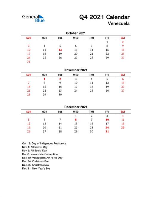 2021 Q4 Calendar with Holidays List