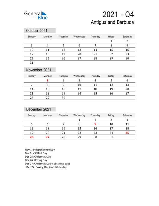 Antigua and Barbuda Quarter 4 2021 Calendar