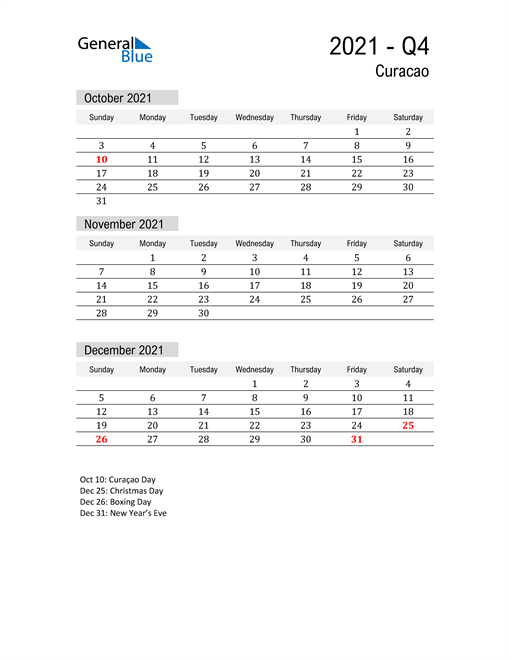Curacao Quarter 4 2021 Calendar