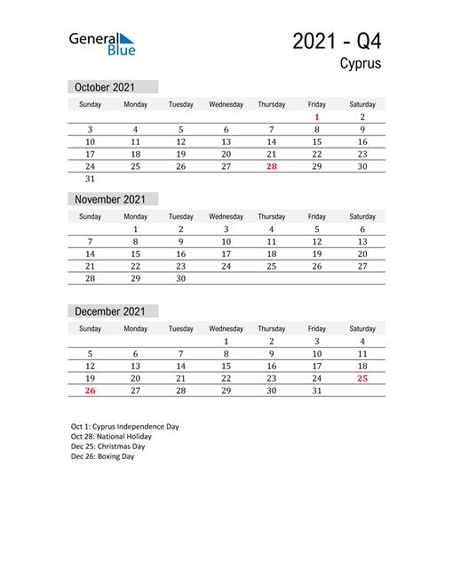 Cyprus Quarter 4 2021 Calendar